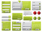 Green website form set with buttons — Stock Vector