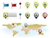 Gps kaart elementen — Stockvector