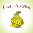 Live Healthy - fresh pear with measuring tape — Stock Vector #11261745