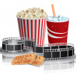 Stock Vector: Popcorn, drink and filmstrip
