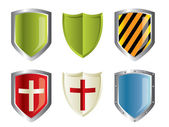 Metallic shiny shields set — Stock Vector