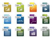 Iconos de la extensión de archivo — Vector de stock
