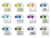 Fil förlängning ikoner — Stockvektor