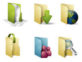 Colorful folders with accesories — Stock Vector