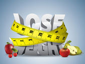 Lose weight text with measure tape and fruits — Stockvector