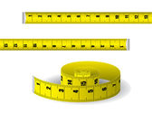 Yellow measuring tape on white background — Stock Vector