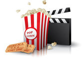 Popcorn and movie tickets with clapper board on white — Stock Vector