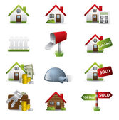 Real Estate Business Icon Set — Stock Vector