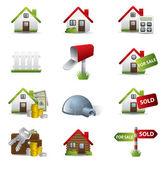 Fastighets affärer ikonuppsättning — Stockvektor