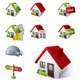 3D Real Estate Business Icon Set — Stock Vector