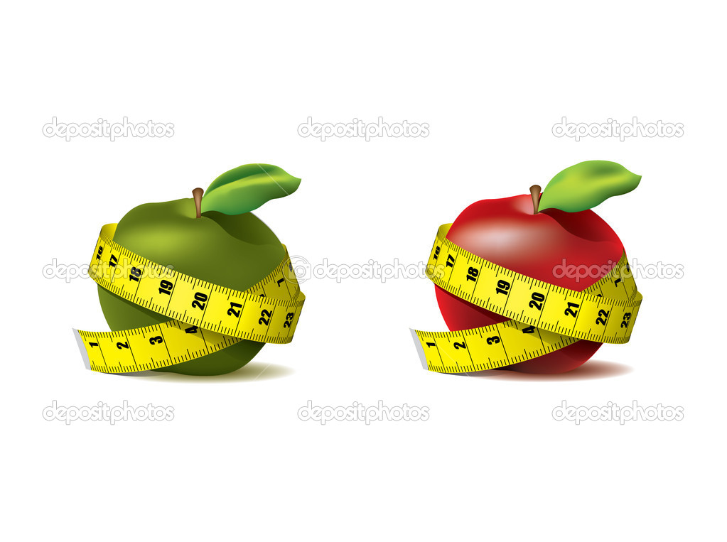 Fresh red and green apple with measuring tape on white - vector — Stock Vector #11261488