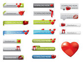 Valentine's day theme website download buttons — Stockvector