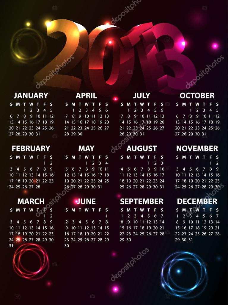 Calendar for 2013 vector — Stock Vector #11538022