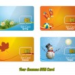 Set of four beautiful sim card — Stock Vector