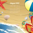 Beach Calendar for August 2012 - Imagen vectorial