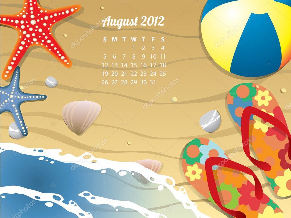 Beach Calendar for August 2012 — Stock Vector #11595147