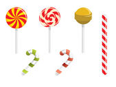 Lollipop and different candies — Stock Vector
