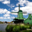 Foto Stock: Green windmill in Zaanse Schans