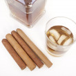 Whiskey glass and cigar — Zdjęcie stockowe