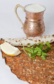 Delicious Turkish pizza lahmacun — Stock Photo