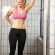 Happy Fitness Woman in Gym — Stock Photo