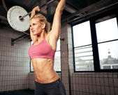 Woman Lifting Weight — Stock Photo