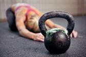 Kettlebell cvičení — Stock fotografie
