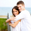 Romantic Couple Hugging in the Park - Stock Photo