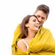 Couple Hugging While Wrapped in Blanket — Stock Photo
