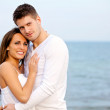 Romantic Couple Posing at the Beach — Stock Photo