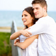Happy Couple Embracing While in the Park — Stock Photo