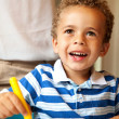 Preschooler Having Fun Coloring — Stock Photo