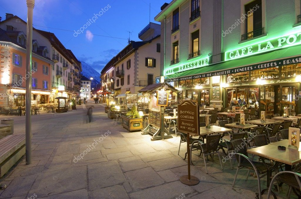 Chamonix, France - April 7, 2009: restaurants in Chamonix. Chamonix is known as the world capital of mountaineering and is visited by thousands of tourists and mountaineers each year.  Stock Photo #11484812