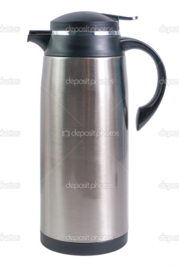 Thermo flask from stainless steel for hot drinks isolated on white background — Lizenzfreies Foto #10954410