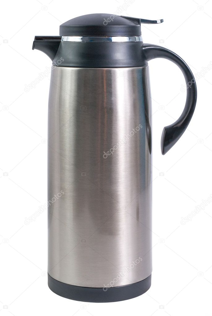 Thermo flask from stainless steel for hot drinks isolated on white background — Foto de Stock   #10954410