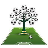 Symbolic tree on the football ground — Stock Vector