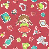 Pattern for little girls — Stock Vector