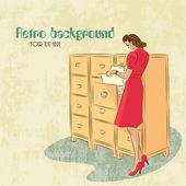 Retro background with woman secretary — Stock Vector