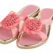 Pair of summer shoes women's pink low heels with a flower - Stock Photo