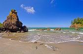 Sörf ve köpüklü okyanus kıyısında — Stok fotoğraf
