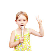 The Child and microphone — Stockfoto