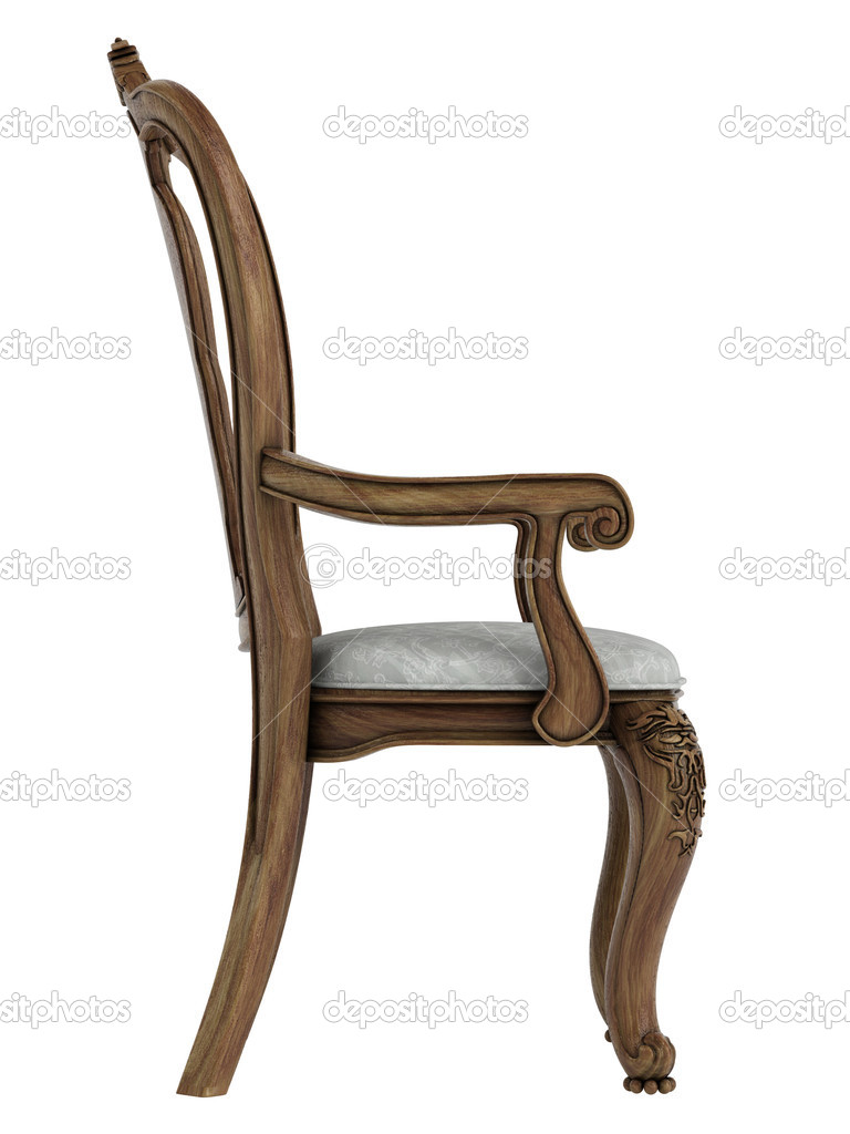 Antique wooden chair isolated on white background — Stock Photo #11381938