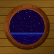 Night sea in a ship window — Stock Photo