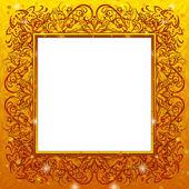 Golden holiday frame — Stock Photo