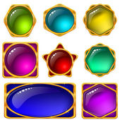 Buttons with multicolored gems, set — Stock Photo