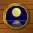 Window with moon and sea — Stock Photo