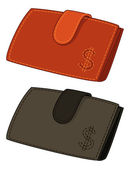 Leather wallets with dollar signs — Stock Photo
