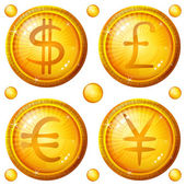 Buttons with currency signs, set — Stock Photo