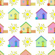 Background, houses and sun — Stock Photo