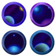 Space window with planets, set — Stock Photo